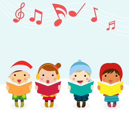 caroler: Group of kids chorus singing Christmas songs. Vector illustration