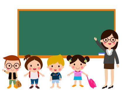 Leraar en schoolkinderen