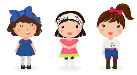 Illustrazione dei tre bambini su uno sfondo bianco