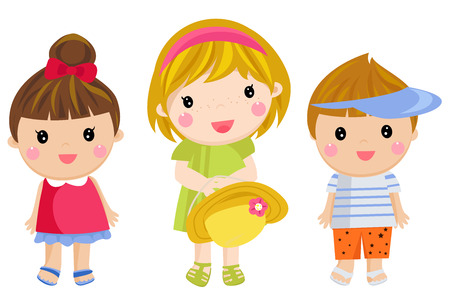 three children: Illustration of the three kids on a white background