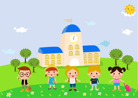 asian student: School kids Illustration
