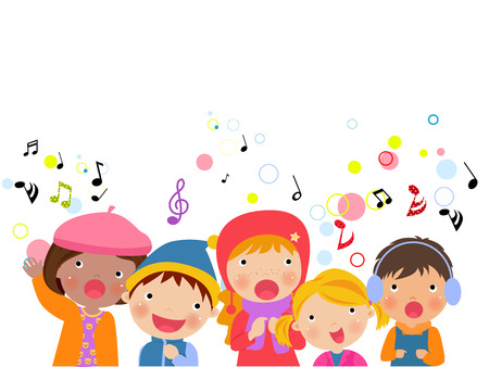 Group of kids chorus singing Christmas songs.