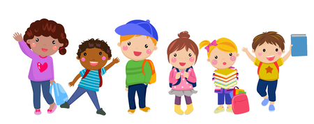 bag cartoon: Group of kids with school bag Illustration