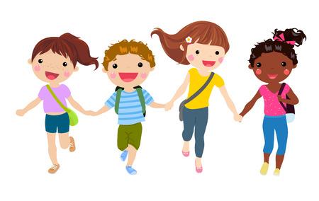 Gruppe der Schüler mit Schultaschen Laufen