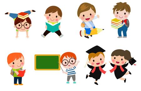 teen boy: Kids go to school, back to school, Cute cartoon children, happy children