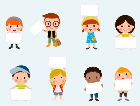 edge: kids with empty sign on a white background Illustration