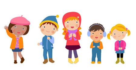 carolers: Group of winter kids