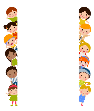 子供とバナー  イラスト・ベクター素材