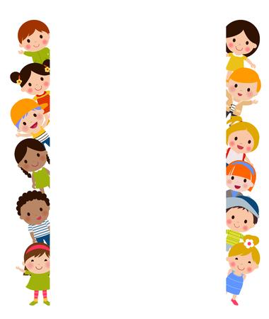 Children and banner 일러스트