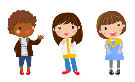 three children: Illustration of the three children on a white background