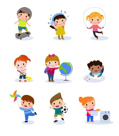 child care: Group of kids set