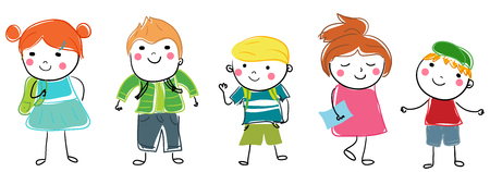 young schoolchild: Group of kids with school bag Illustration