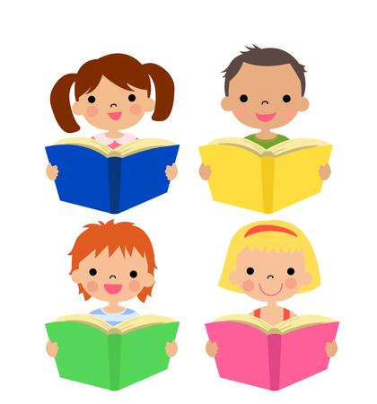 playmates: Ilustración de los niños la lectura en un fondo blanco