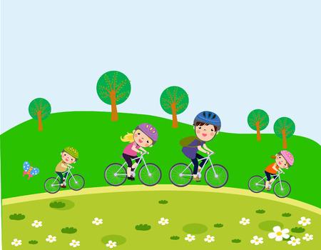 Felice che guida la famiglia biciclette Vettoriali