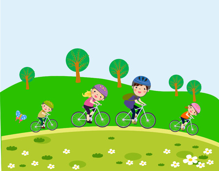 vélos de la famille à cheval Happy Vecteurs
