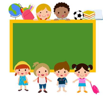 niños con pancarta: Los niños y la bandera