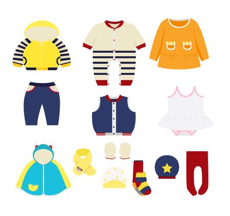 conjunto de elementos de design de roupas infantis