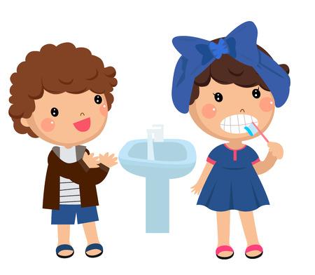 rinse: Children brushing and washing
