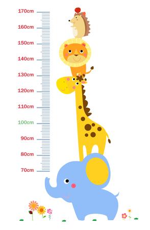 The child's height illustrations Stock Illustratie