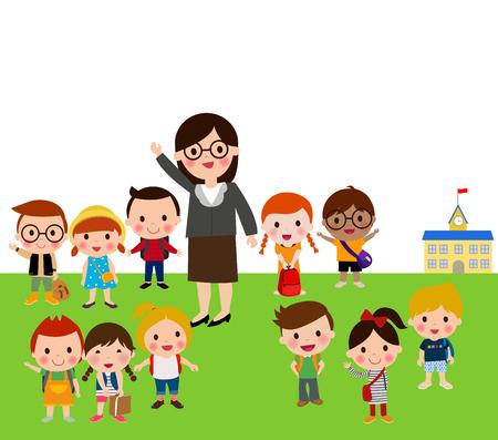teenagers learning: Teacher and school kids