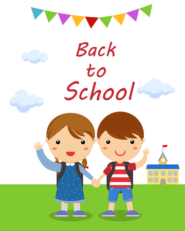 morning walk: pupils boy and girl, back to school