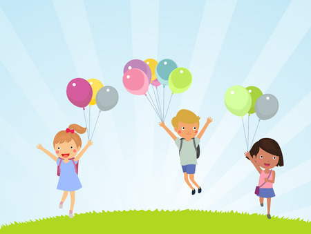 happy kids: Happy kids jumping with balloon