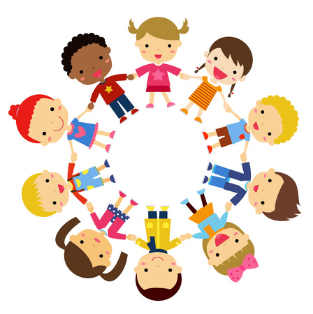 young schoolchild: illustration children friends from around the world of various ethnic groups in circle Illustration