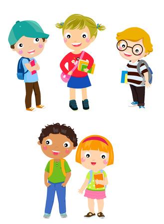 pupils: pupils boys and girls Illustration