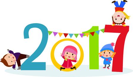 plain: Happy New Year 2017 kids