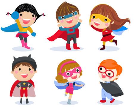 Superhero kids boys and girls cartoon illustration collection. Vettoriali