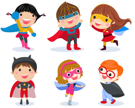 Superhero kids boys and girls cartoon illustration collection. 矢量图像
