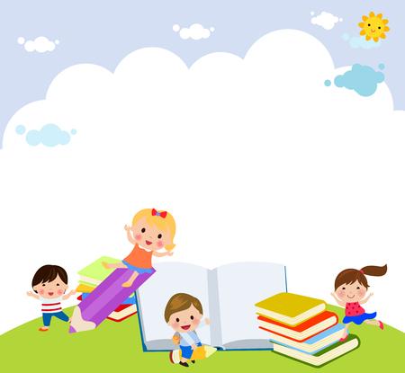 blonde teenager: Cartoon children and books Illustration