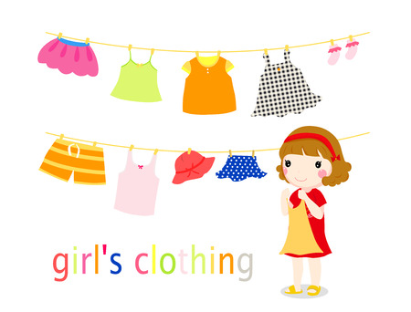 Little girl and baby clothing on the clothesline.