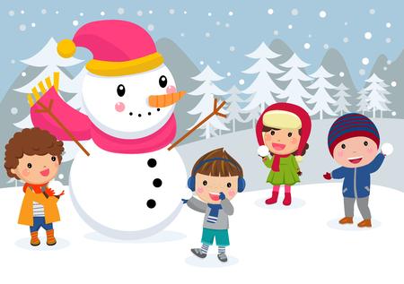 winter hat: Children make a snowman.