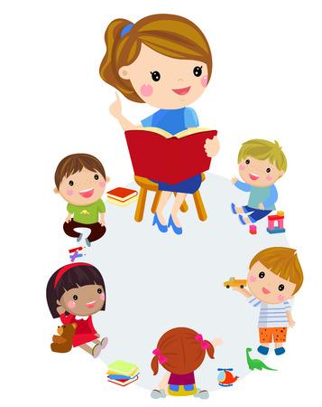 Elementary teacher having a class with group of children.