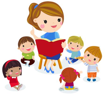 Élémentaire enseignant ayant une classe avec un groupe d'enfants.