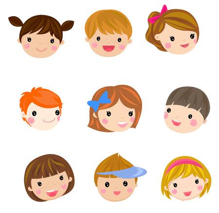 nice girl: Children face set Illustration