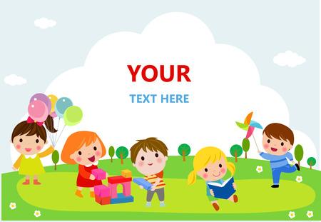 jardin de infantes: lindo de los niños que juegan con juguetes, lectura, saltando