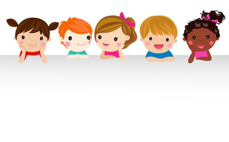 Bambini e bandiera Vettoriali