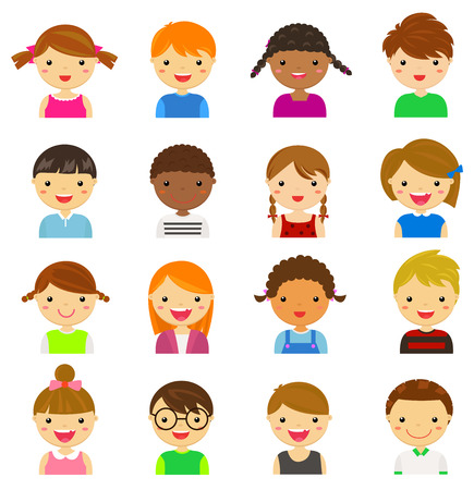 niños de diferentes razas: Ilustración conjunto de diferentes avatares de los niños y niñas sobre un fondo blanco Vectores