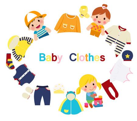 Los niños y la ropa del bebé Vectores