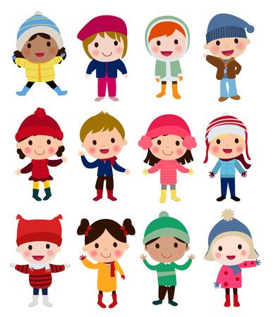 carolers: Group of winter kids