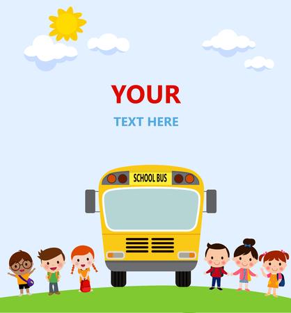 Multinational kids going to school Illustration