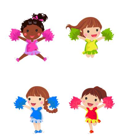 multiple: Cheerleaders with pom pom