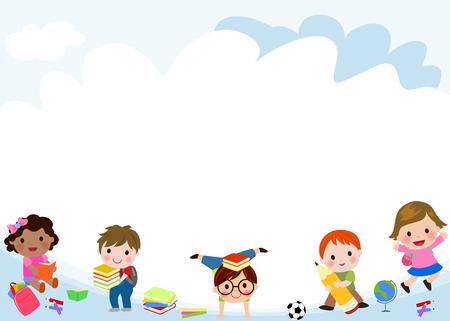 幸せな子供たちのグループ