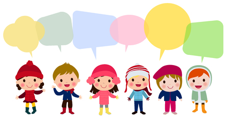 Kids talking and thinking with speech bubbles Illustration