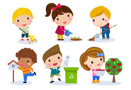 educacion ambiental: Grupo, niños, Conjunto Vectores