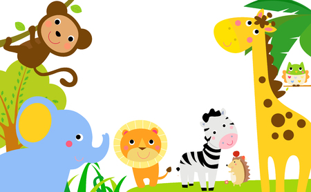 Animals in jungle having fun Illustration
