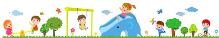 Children playing in the public park illustration Illustration