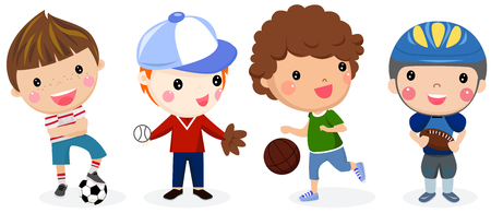 Grupo, deporte, niños